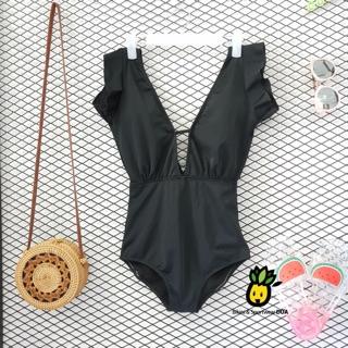 Nhập WA2899 giảm 20k đơn 99k_ Bikini đồ bơi liền màu đen cho nữ
