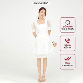 Đầm xòe nữ màu trắng lông vũ cổ vuông GUMAC DB544 thumbnail