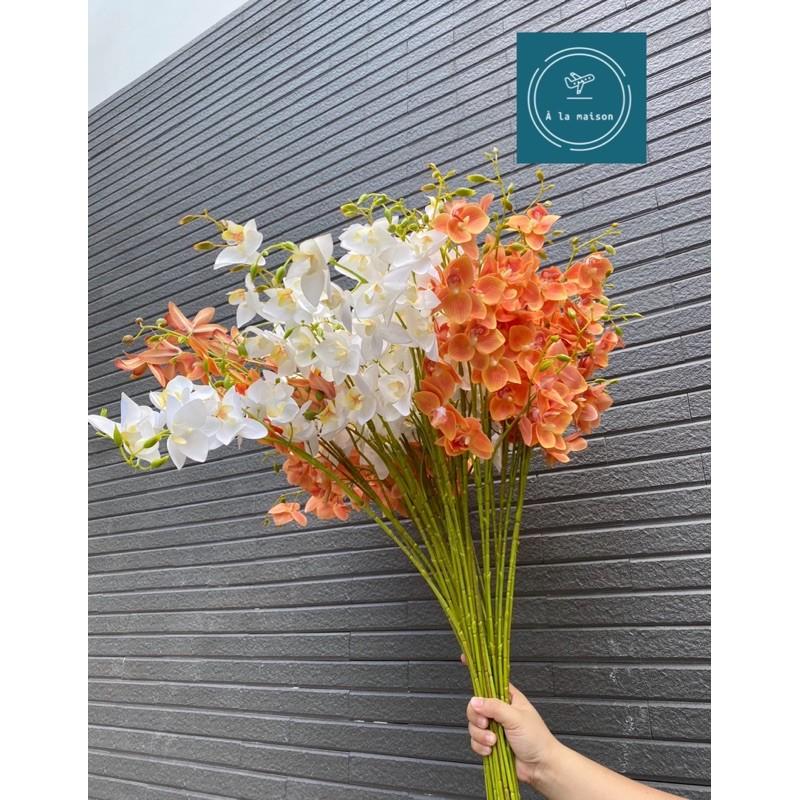 Hoa giả - Cành lan hoàng thảo 80cm trang trí không gian tươi mát sang trọng,hoa cô dâu,hoa lụa cao cấp