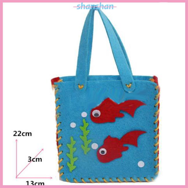Children DIY Hand Bag Kids Handmade Cloth Cartoon Animal Flower Bag Craft Art Gift