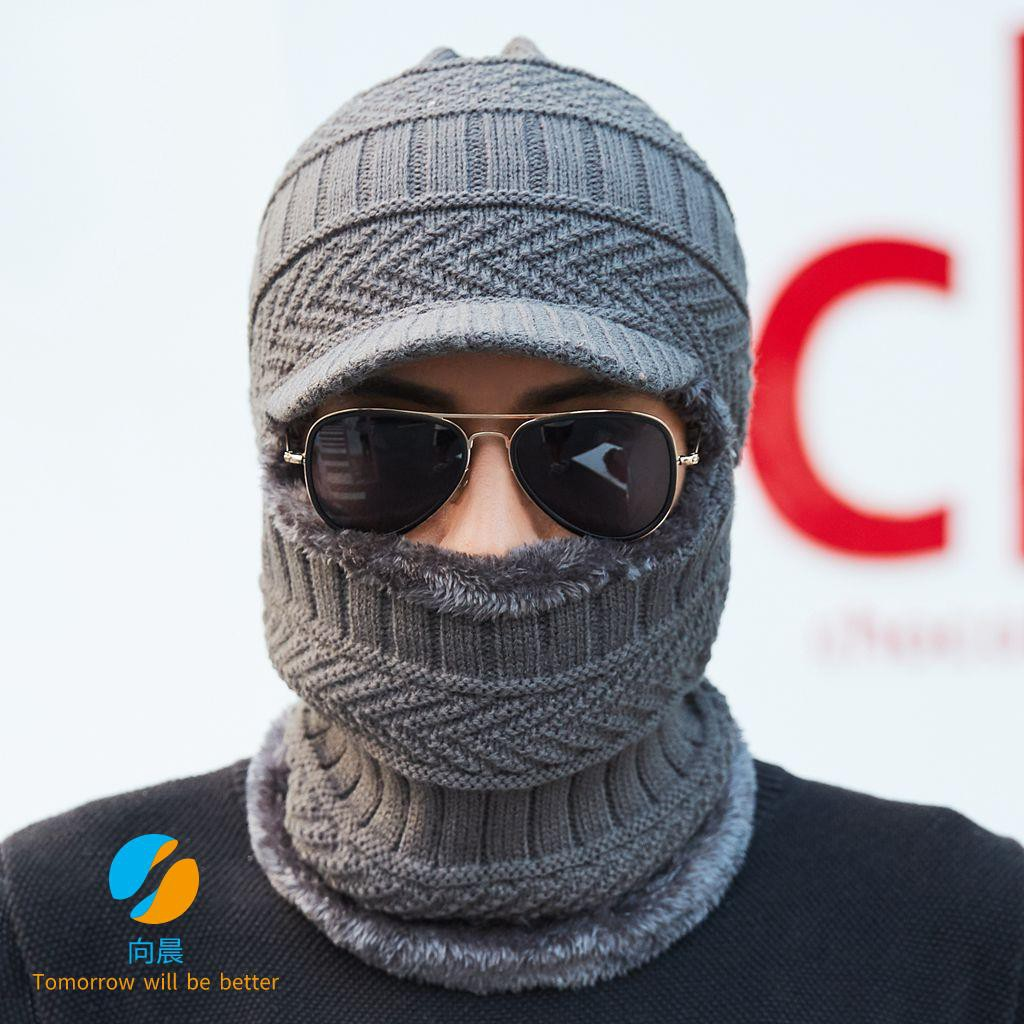 Men's autumn and winter plus velvet scarf one-piece knit hat riding neck conjoined woolen hat thickened duck tongue earm