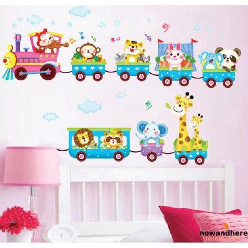 ◕ω◕Childrens 3D Cartoon Animal Train Wall Decal Stickers