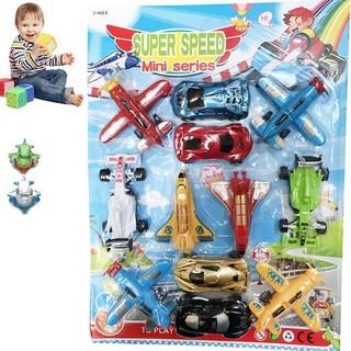 Vỉ 12 đồ chơi xe ô tô và máy bay SUPPER SPEED