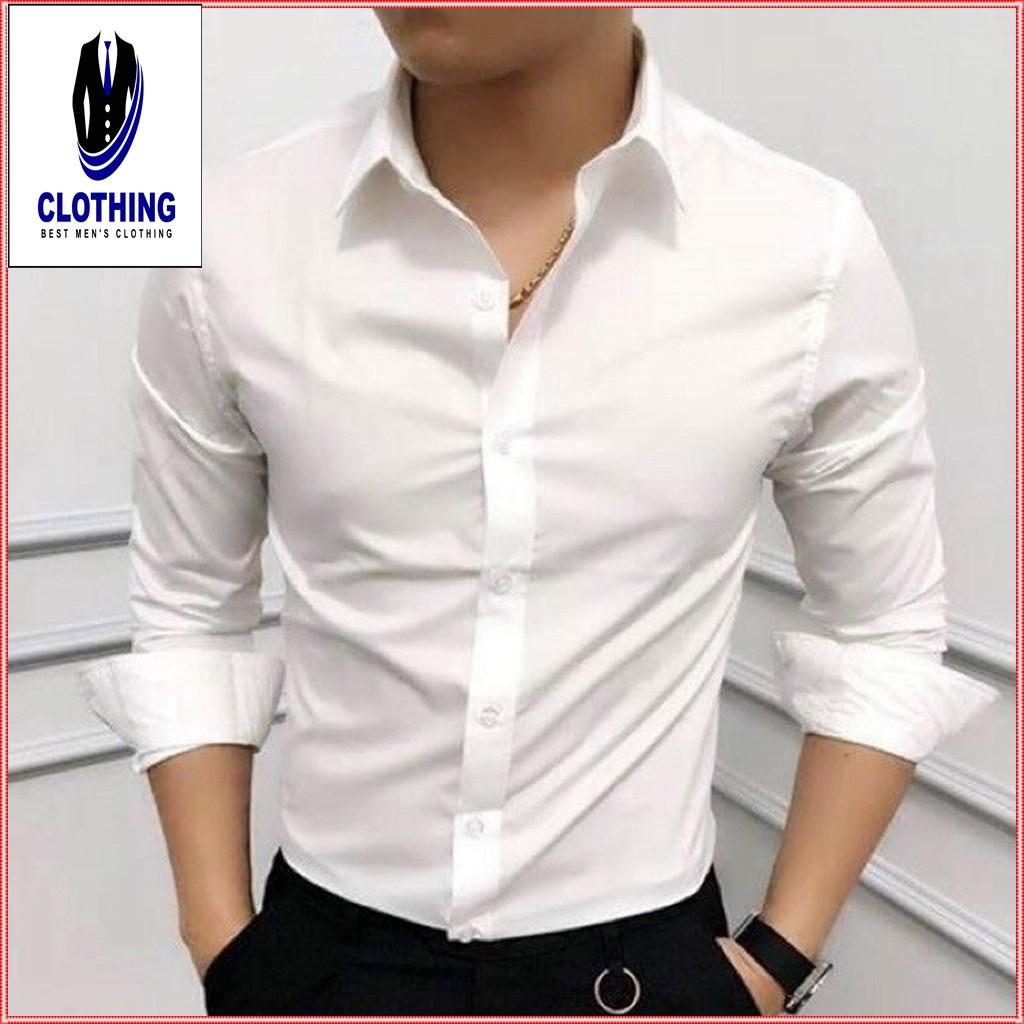 Áo sơ mi nam dài tay áo sơ mi trắng vải lụa nến không nhăn thời trang cao cấp