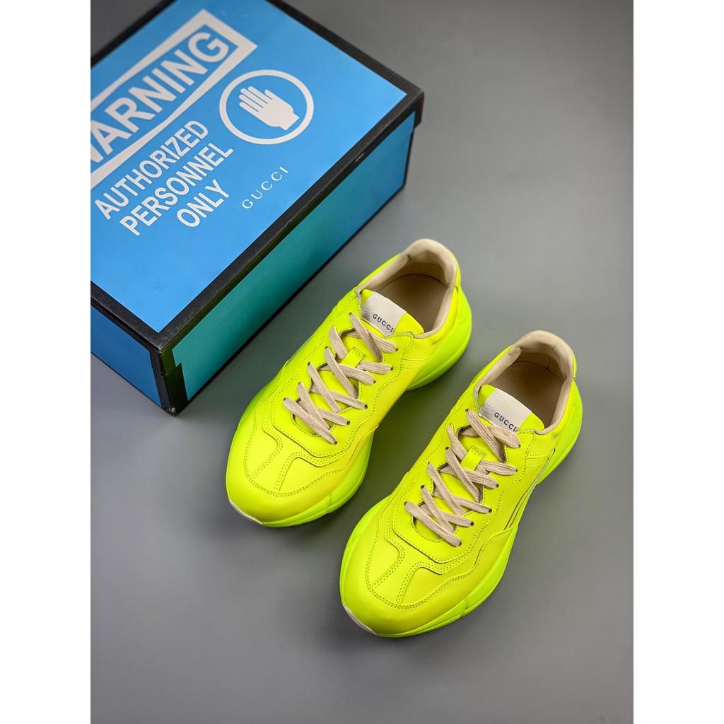 แท้ Gucci Rhyton Vintage Trainer สีเขียวเรืองแสง รองเท้าเก่า รองเท้าสีขาว รองเท้าลำลอง H545254