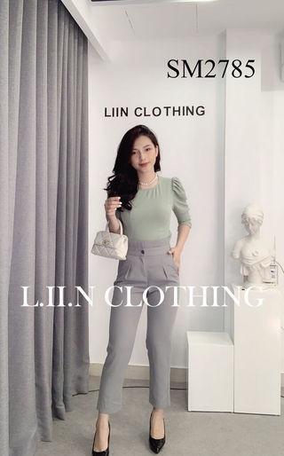 Áo kiểu nữ cao cấp LINBI CLOTHING chất liệu lụa thoáng mát, màu xanh ngọc, cổ tròn, tay bồng SM2785