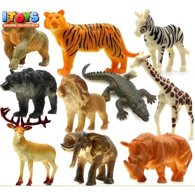Bộ 10 mô hình động vật giúp trẻ nhận biết con vật, (5-13cm) Đồ chơi động vật ITOYS [ MHĐV8...