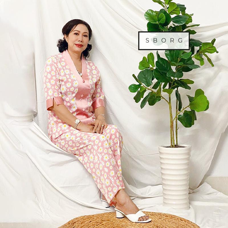 Bộ mặc nhà trung niên SBORG lụa mango hoa nhí