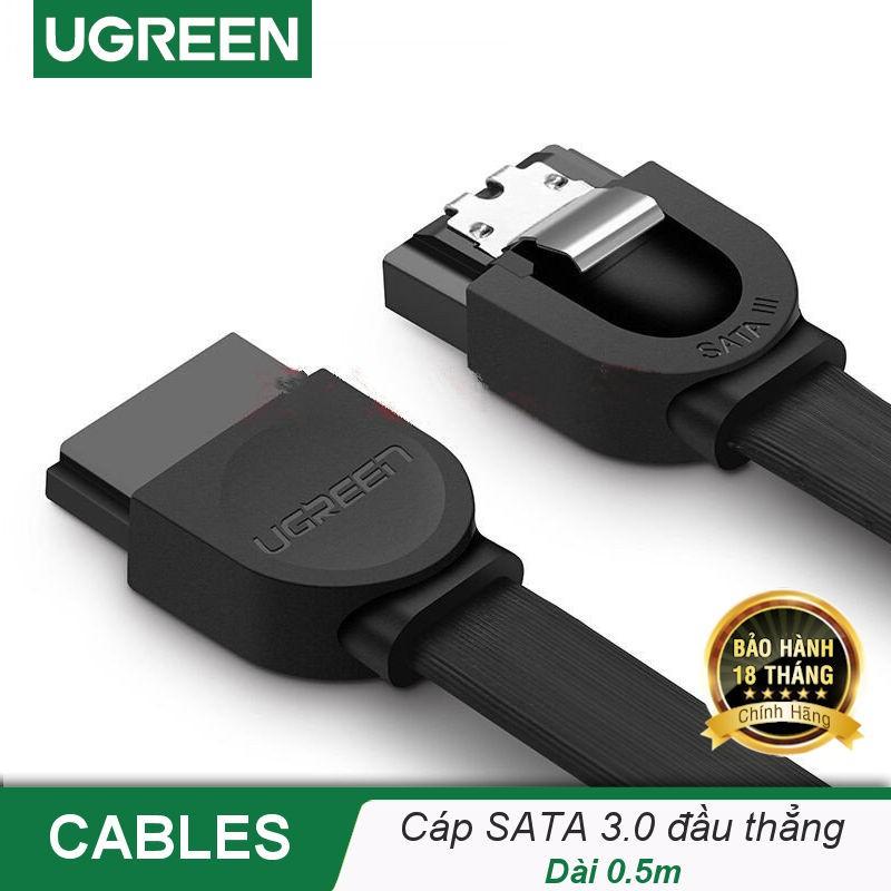Cáp SATA 3.0 đầu thẳng, đầu vuông góc, nối dài, truyền tốc độ cao 6Gb/s, dài 0.5m UGREEN US217