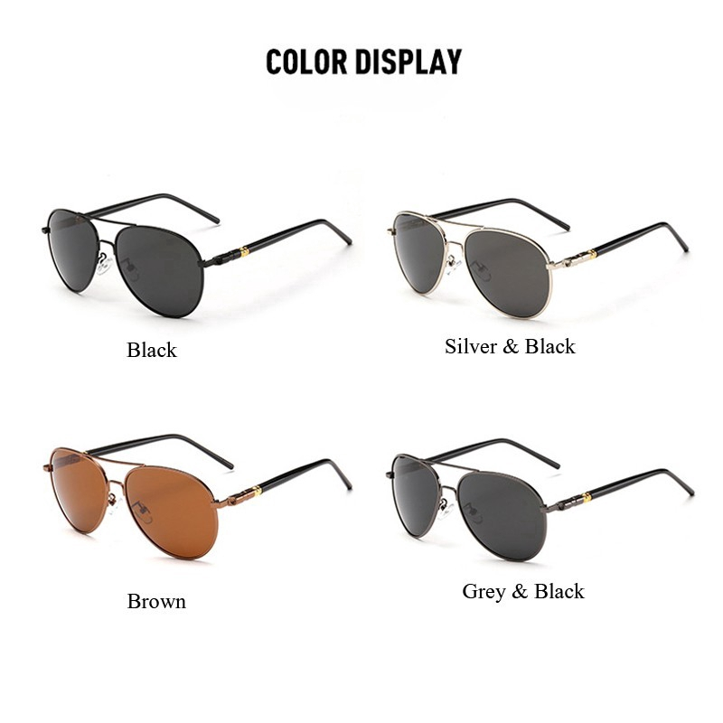 Kính râm phân cực UV400 phong cách phi không dành cho bạn nam đeo khi lái xe ngoài trời