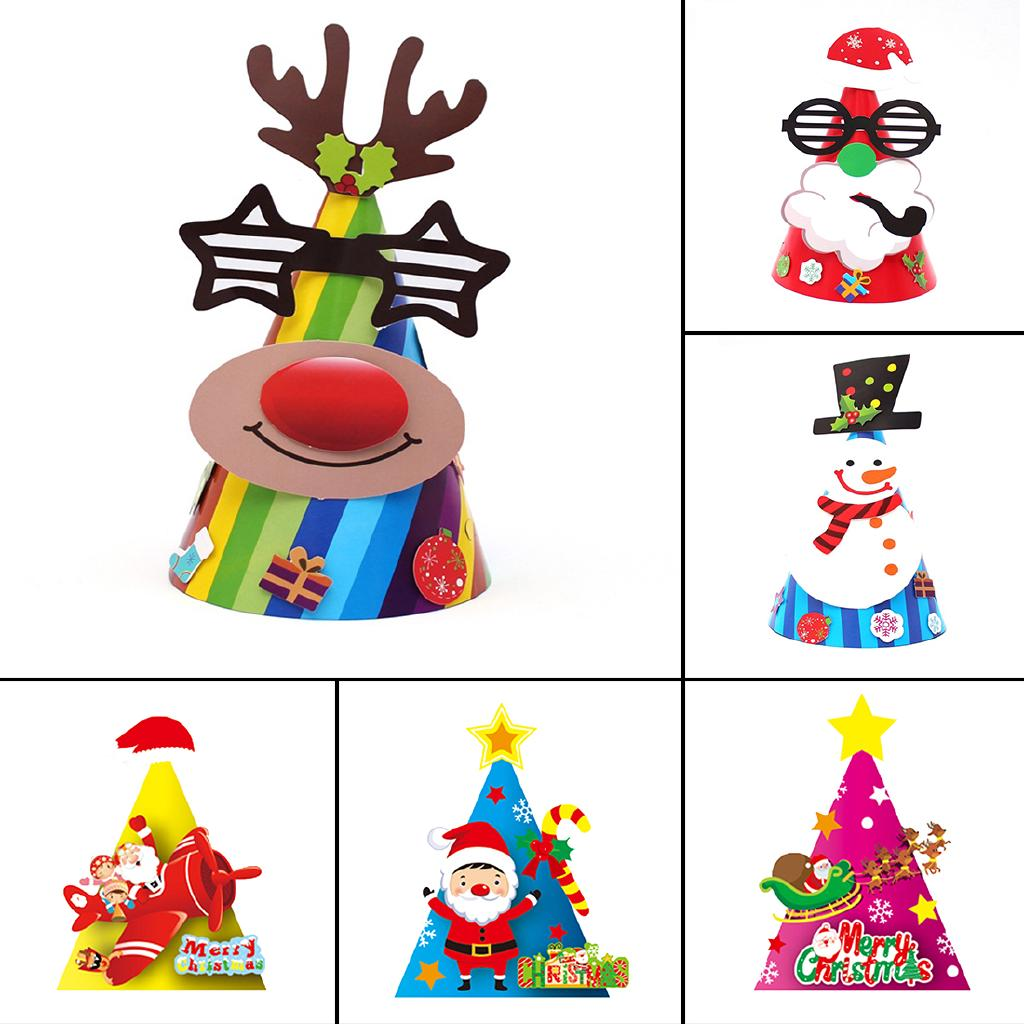 Christmas Cap Children Kindergarten Paper Cartoon Snowman Hat Party Decor