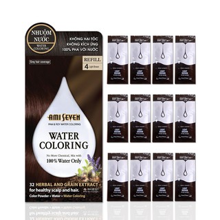 Nhuộm Nước Thiên Nhiên Ami Seven - REFILL 4 Light Brown.CHỈ PHA 100% VỚI NƯỚC - hộp 12 góix10g (120g). Không phụ kiện. thumbnail