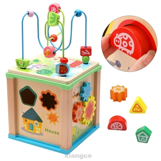 Classic For Kids Funny Training Educational Toy Birthday Gift Early Learning Shape Sorter With Bead Wooden Activity Cube