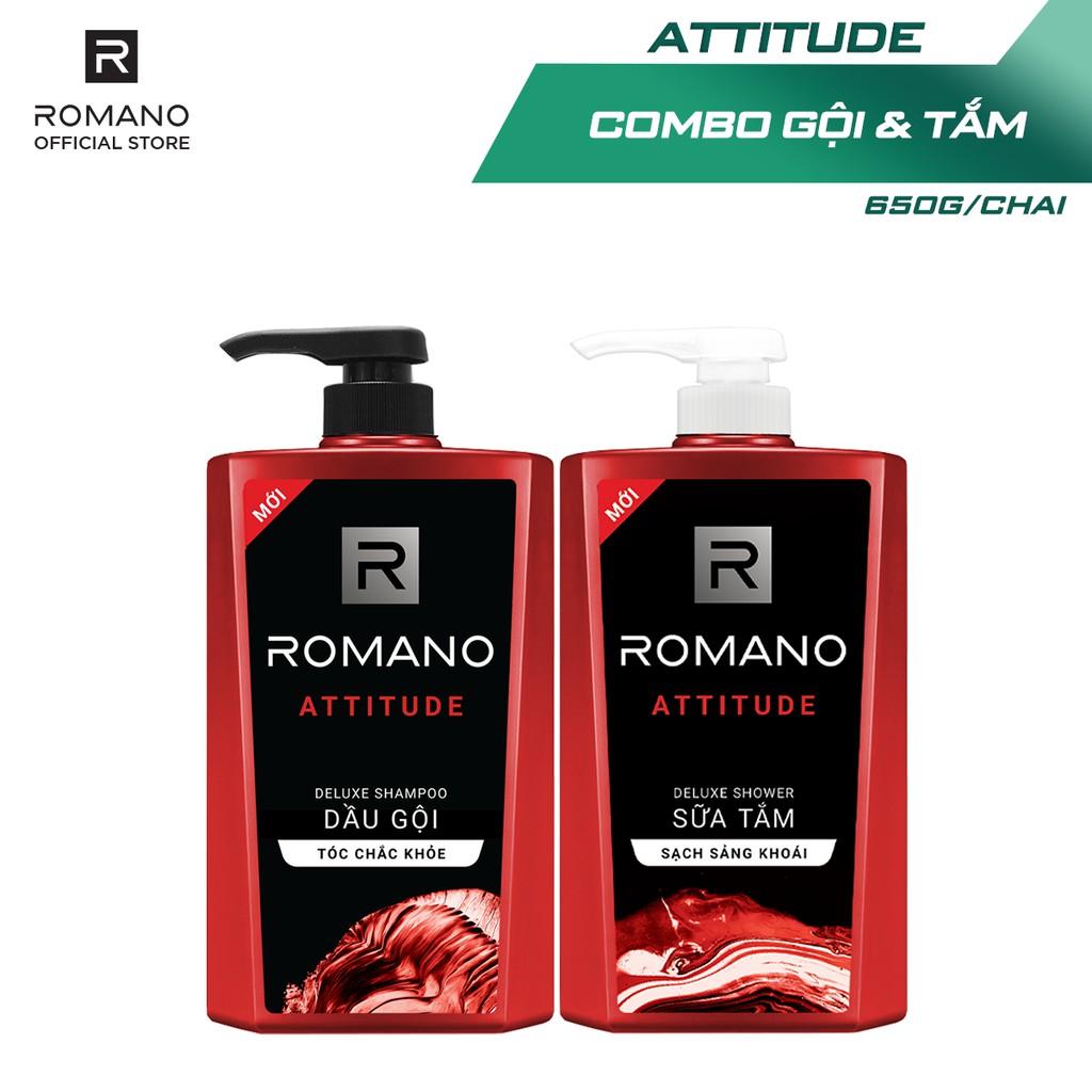Combo Dầu gội và Sữa tắm cao cấp Romano Attitude 650g/chai