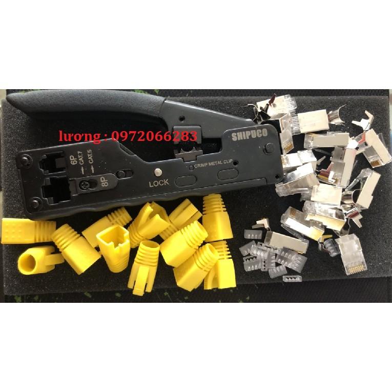 Bộ dụng cụ dùng cho cat6a cat7 kìm hạt và đầu chụp chuyên dụng
