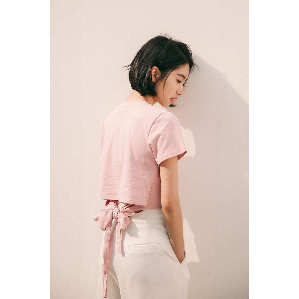 Áo thun nữ croptop cổ tròn thắt nơ sau lưng siêu dễ thương, siêu sexyy