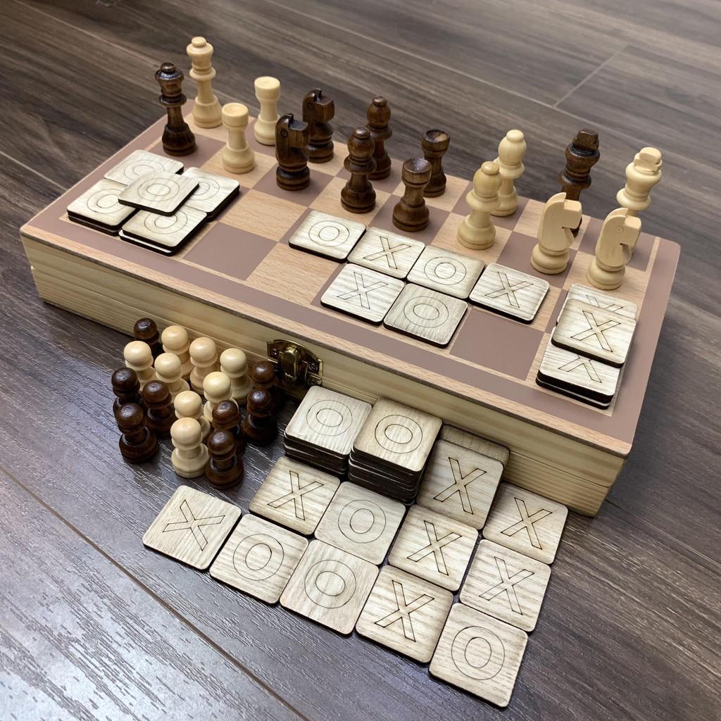 Game Cờ Vua Kết Hợp Cờ Caro 2 In 1 Bằng Gỗ Kèm Hộp Đựng Dành Cho 2 Người Chơi