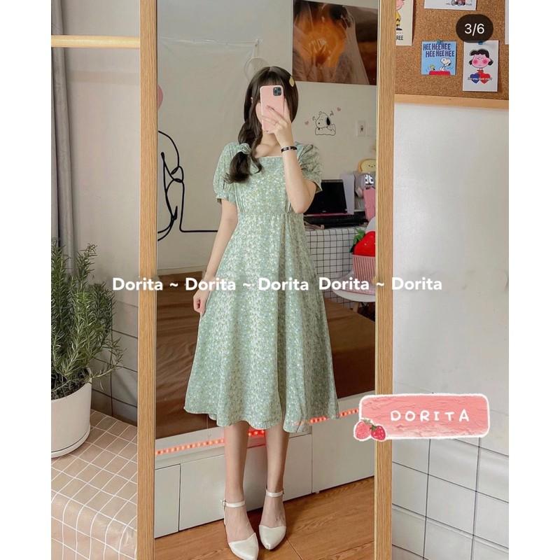 Váy hoa nhí vintage dáng dài kèm Sunchies, Váy hoa nhí vintage cổ vuông viền ren - Dorita Boutique