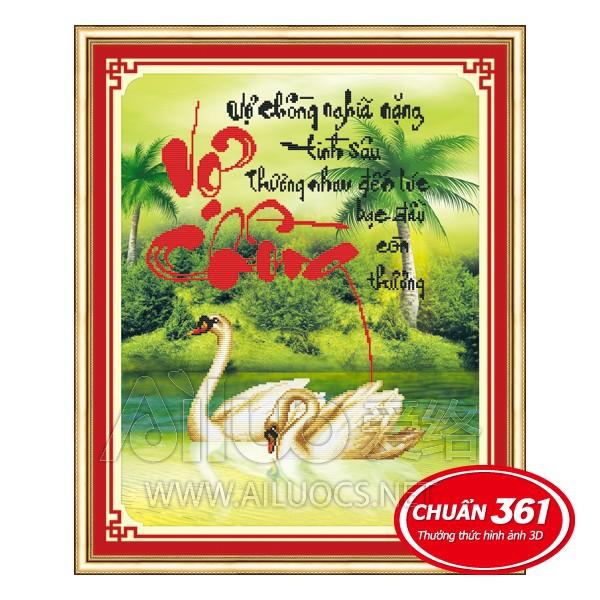 FREESHIP 99K TOÀN QUỐC_Tranh thêu Vợ Chồng thiên nga 3D Ailuo AL53315