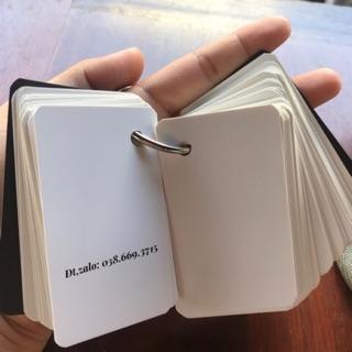 Flashcard thẻ học từ vựng tiếng anh nhật hàn trung cao cấp | Bộ thẻ dày vừa(100 FLASHCARD TRẮNG  ĐỤC BO GÓC)