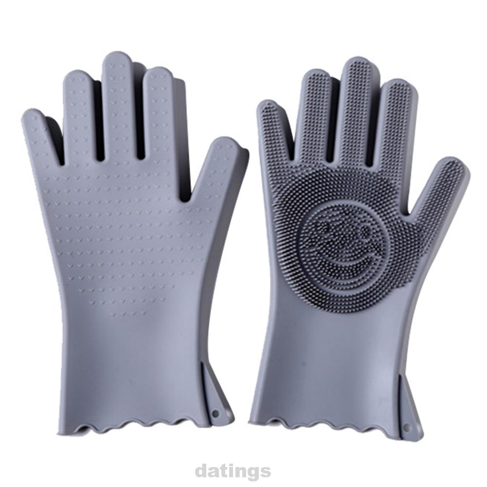 1Pair Cleaning Gloves Multifunctional Dishwashing Household Bathroom Kitchen With Brush Magic Scrubbing