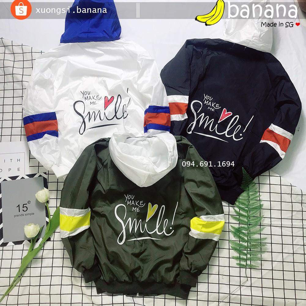 [Banana]- Áo khoác dù Smile ( có size to 85kg)