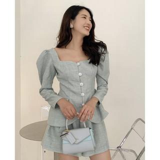RECHIC Set Elin màu xanh áo cổ vuông tay phồng phối quần short ngắn xinh xắn thời trang dạo phố công sở thumbnail