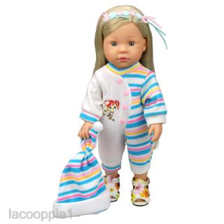 Blue Half Striped Jumpsuits + Hat Pajamas Clothes for 14-16 Inch Dolls