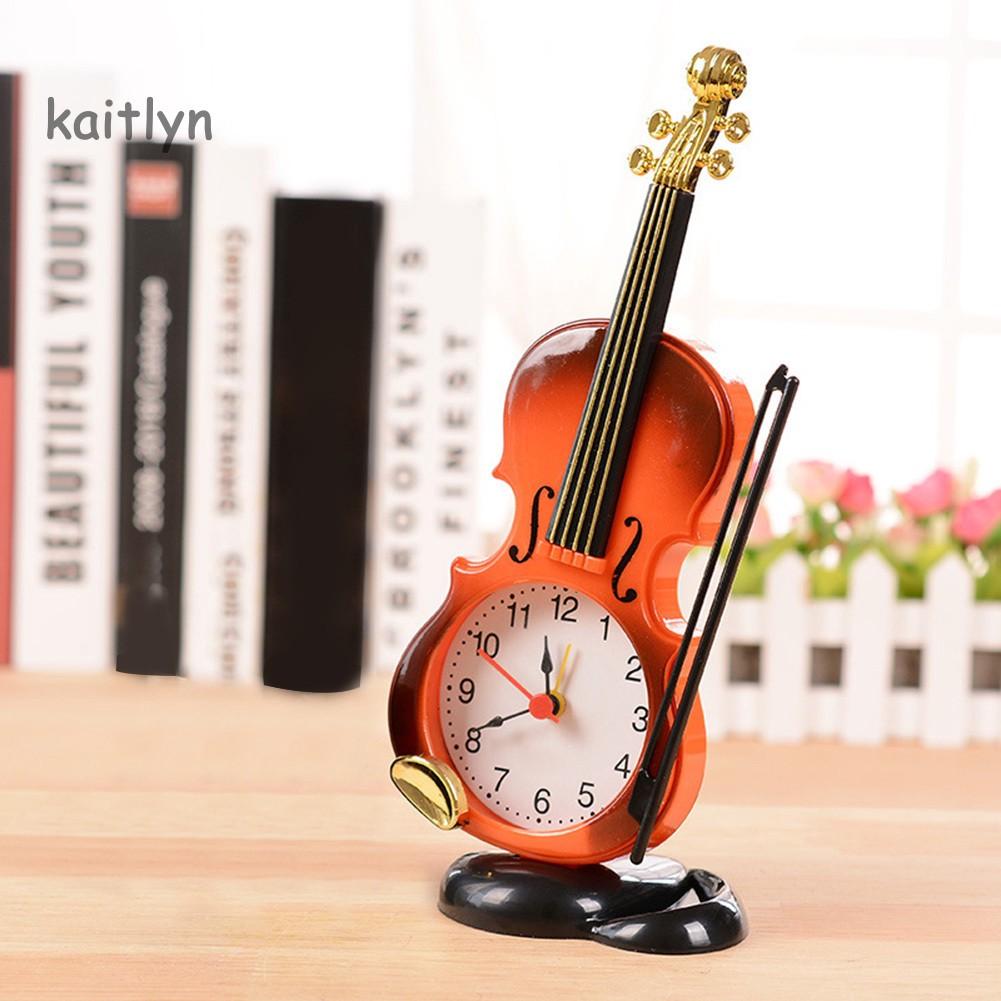 Đồng hồ báo thức để bàn hình cây đàn violin sáng tạo