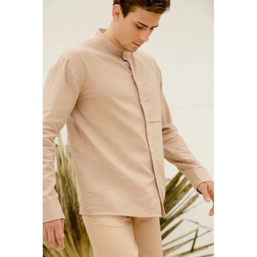 [Mã CDBLANC60K giảm 15% tối đa 60K đơn từ 500K] Band Collar Beige Shirt/ Áo nam màu beige cổ lãnh trụ Can De Blanc