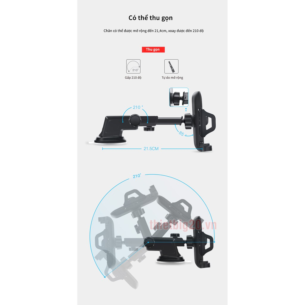 Giá đỡ điện thoại cho ô tô2 trong 1 dính taplo và kẹp cửa gió GXE25