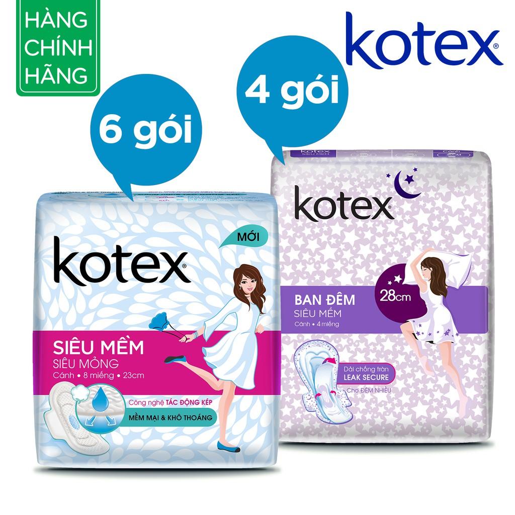 Bộ 10 gói Kotex (6 x Siêu mềm mỏng cánh, 4 x Siêu mềm ban đêm)