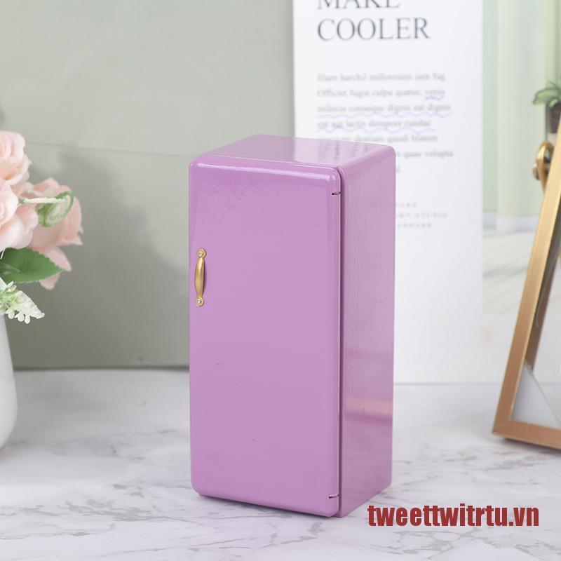 TRTU 1:12 Dollhouse Miniature Furniture Purple Single Door Refrigerator Fridge