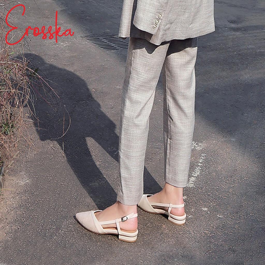 Hình ảnh Giày Sandal Nữ Đế Bệt Mũi Nhọn Thời Trang Erosska EL005 ( Màu Nude)-7