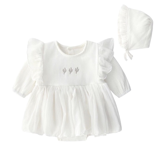 Váy Body Cánh Tiên Dài Tay Đầy Tháng/ Thôi Nôi Cho Bé Gái size 3-14kg (Kèm Mũ Bèo Tiểu thư)