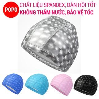 Mũ bơi người lớn cho nam nữ, trẻ em trên 8 tuổi chính hãng POPO CA39 chất liệu Spandex ngăn nước bảo vệ tóc
