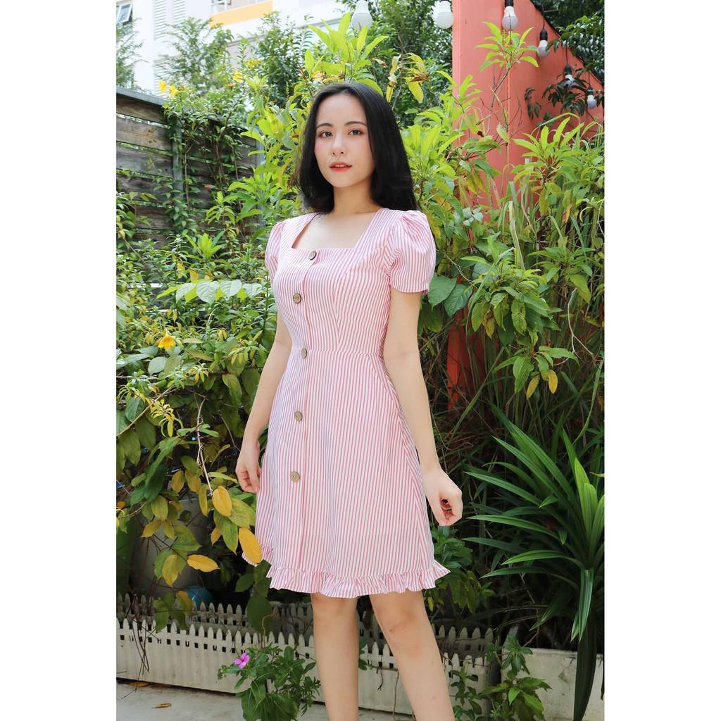Mặc gì đẹp: Sang trọng với Đầm công sở nữ tôn dáng có túi may 2 lớp thiết kế cao cấp màu hồng họa tiết sọc dáng chữ a tay ngắn