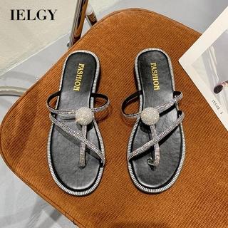 Giày Sandal Đế Bằng Đính Đá Thời Trang Hàn Quốc Cho Nữ