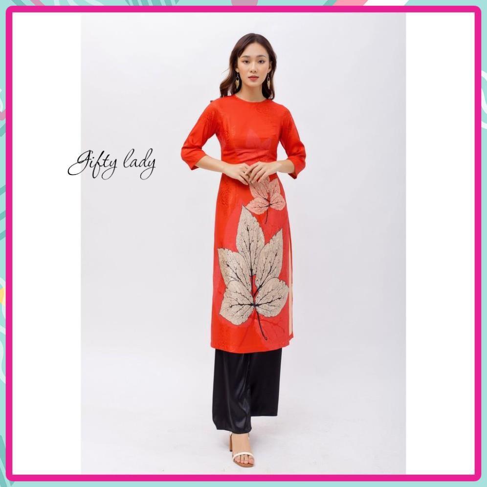 Áo Dài Cách Tân, Áo Dài Nữ Gấm Lụa Màu Đỏ In Hình Chiếc Lá, Đường May Tinh Tế Sang Trọng Cho Phái Nữ, Giftylady