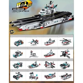 Combo 8 trong 1 tầu chiến sân bay đồ chơi lắp ráp