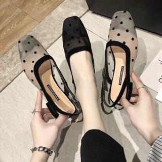 Giày chấm bi size 35-39 2 màu đen - be (oder 5-7 ngày) kèm ảnh thật
