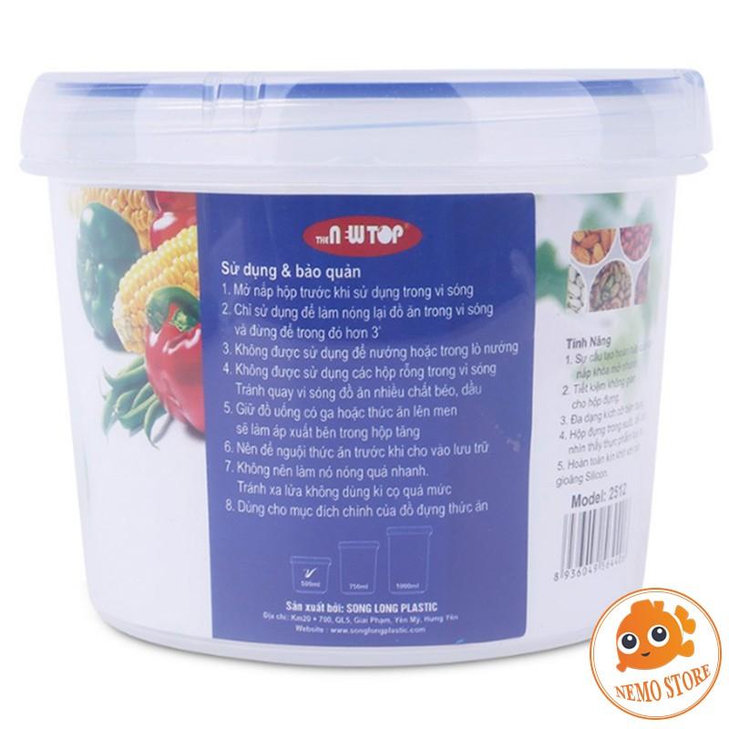 Hộp nhựa đựng thức ăn trong suốt, chia thức ăn bảo quản thực phẩm tủ lạnh tròn 500ml, 750ml, 1000ml Song Long
