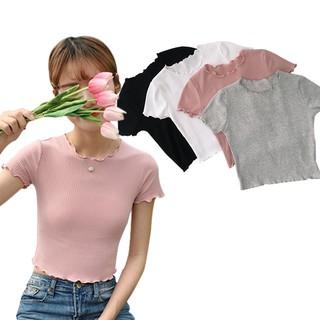 Áo croptop thun gân tay ngắn năng động cho nữ