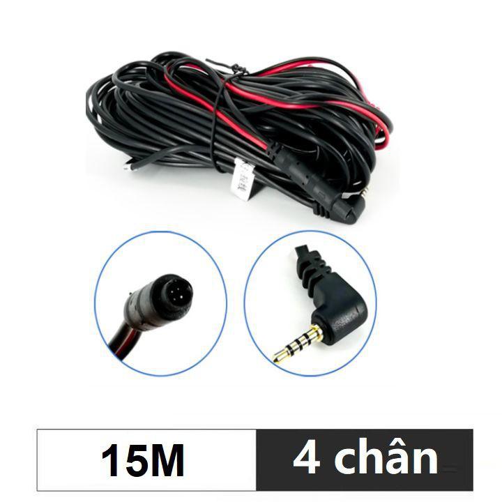 Dây tín hiệu kết nối camera hành trình và camera lùi, jack 2.5mm, 4 chân, dài 15m (Màu đen)