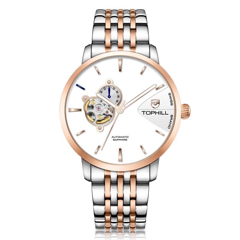 Đồng hồ nam chính hãng TOPHILL TW083G.S7258 - Dây thép - kính Saphire