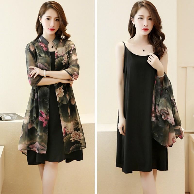 Set áo khoác mỏng vải voan in họa tiết hoa + đầm 2 dây form rộng thời trang cho nữ