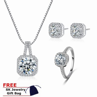 Bộ nhẫn + đôi bông tai + dây chuyền Skute xi mạ bạc đính đá lấp lánh thời trang