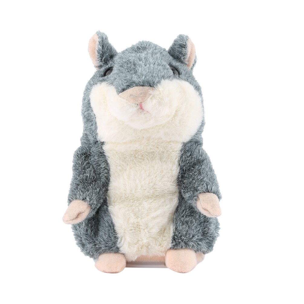 Cute Talking Hamster Plush Toy Sound Record Hamster Toy Animal Toy Gray