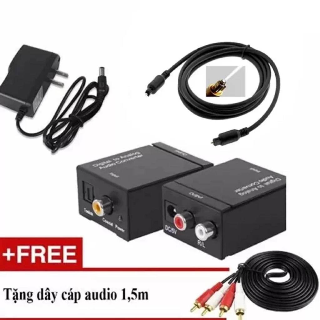 Bộ chuyển âm thanh TV 4K quang optical sang audio AV ra amply + Cáp optical 1.5m + Dây AV 4 Đầu bông