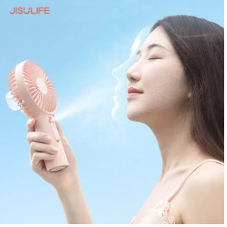 Quạt mini cầm tay phun sương tích điện Jisulife F9 Hot 2020, quạt phun sương 2IN1, lực gió siêu mạnh, tạo đổ ẩm cho da
